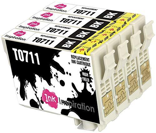 INK INSPIRATION® Ersatz für Epson T0711 Schwarz Druckerpatronen 4er-Pack, kompatibel mit Epson Stylus S20 S21 SX100 SX115 SX200 SX218 SX415 SX515W SX600FW SX610FW BX300F BX610FW D92 DX7400