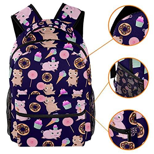 Mochila de dibujos animados de cerdo donut helado Lollipop mochila de viaje casual mochila para mujeres adolescentes niñas niños