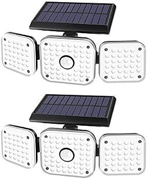 2-Pack Efiealls 3 Heads Wireless Motion Sensor Security Solar LED Light