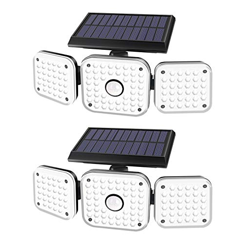 Solar Lights Outdoor, efiealls 3 Heads 112LED Wireless Motion Sensor Security Flood Lights, 270° Wide Angle Illumination 3 Lighting Modes for Porch Garden Garage Yard Patio(Black-2 Pack)
