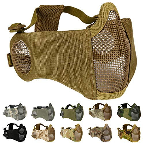 Aoutacc Airsoft Mesh Mask, Half Face Mesh Masks with Ear Protection for CS/Hunting/Paintball/Shooting (Mesh Ear, Tan)