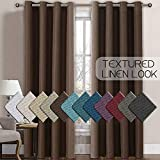 H.VERSAILTEX Linen Curtains Room Darkening Light Blocking Thermal Insulated Heavy Weight Textured Rich Linen Burlap Curtains for Bedroom/Living Room Curtain, 52 by 96 Inch - Cocoa Brown (1 Panel)