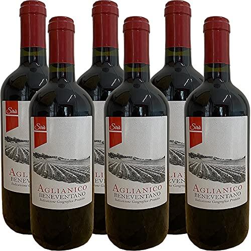 Aglianico del Beneventano Igp | Vino Rosso da Tavola | Campania | 6 Bottiglie 75Cl | Idea Regalo