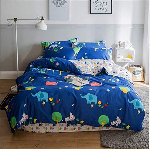 AHJSN Kleine frische frische Baumwolle Vierteilige Twill Cartoon Bedruckte Baumwolle Bettlaken Bett Bettbezug. (Farbe: Blau1, Größe: 150CM) 180CM Blau1