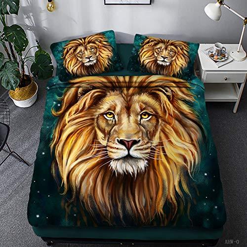 ZHOUBIN Duvet Cover Sets Lion 3D Bedding Set Print Comfortable Soft Bedding Set with Zipper-UK Super King 220x260CM