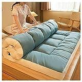 HFAFRZ Colchón de futón Plegable japonés, colchón de Suelo japonés, colchón de Tatami Acolchado, colchón Grueso para colchón de futón, Almohadilla para Dormir portátil,Azul,Queen