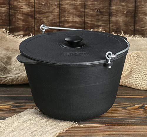 BRIKSUN Gusseisen Kazan Kasan Camping Schmortopf mit Bügel Ø 28 cm Induktion (Ø 28cm 8 Liter)
