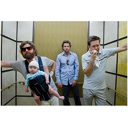 The Hangover Ed Helms Zach Galifianakis Baby Carlos and Bradley Cooper in an Elevator After a Long Night in Las Vegas 8 x 10 Photo