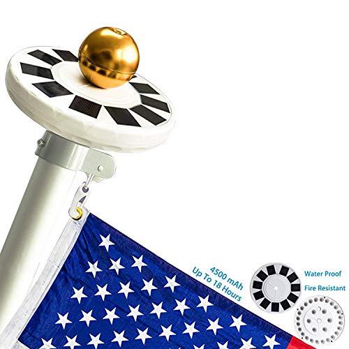 Mekar 30 LED Solar Powered Flag Pole Light Solar Flagpole Downlight LongLasting High Capacity for 15 to 25 ft Flag Pole
