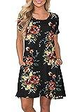 Bequemer Laden Sommerkleid Kurze Kleider Damen Rundhals Strandkleider Einfarbig A-Linie Kleid Boho Knielang Kleid, M, Schwarz-2