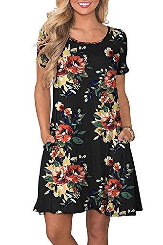 Bequemer Laden Sommerkleid Damen Casual Lose Kurzarm T-Shirt Kleid Knielang Freizeitkleid Tunika Einfarbig/Blumen Elegant Swing Kleider mit Taschen,Y-Schwarz,L