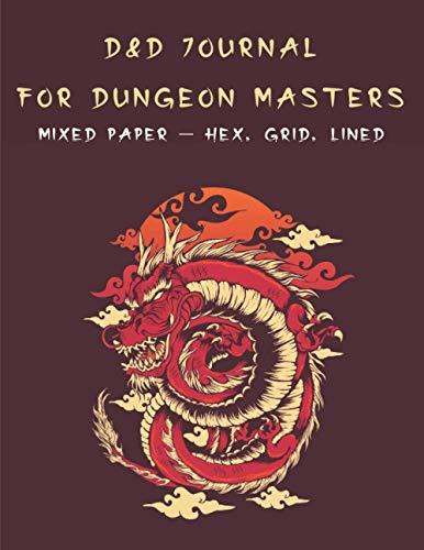 Dungeon Master D&D Journal: Mixed Paper Notebook for Dungeon and Dragons Map Making | Large Notebook for 1 and 2 page Dungeon Design | Dragon Cover | Gift for Dungeon Masters