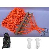 Hamaca de cuerda de nailon, hamaca colgante de red naranja, para interiores y exteriores, hamaca con palo de madera con bolsa de almacenamiento+2 cuerdas de corbata para patio, playa, camping