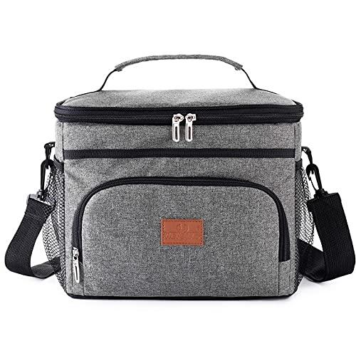 Noete Bolsa de pícnic plegable térmica, bolsa isotérmica clásica, bolsa para el almuerzo, bolsa isotérmica para viajes, exteriores, senderismo, barbacoas, fiestas (gris)