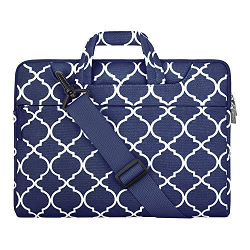 MOSISO Laptoptasche Kompatibel mit MacBook Air 13 Zoll A2337 M1 A2179 A1932,MacBook Pro 13 A2338 M1/A2289/A2251A2159/A1989/A1706/A1708, Canvas Geometrisch Muster Aktentasche, Navy Blau Quatrefoil