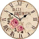 Toudorp Reloj de Pared de 8 Pulgadas, Reloj de Pared de Flores con diseño de Rosas Hermosas francesas Vintage, Reloj de Madera con números Romanos silenciosos con Pilas