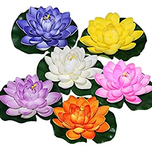 (Pack of 6)Artificial Floating Foam Lotus Flowers, with Water Lily Pad Ornaments, Mix Color,Perfect for Ponds, Pools or Fish Tank, Home Garden Wedding Party Holiday Event Decorations