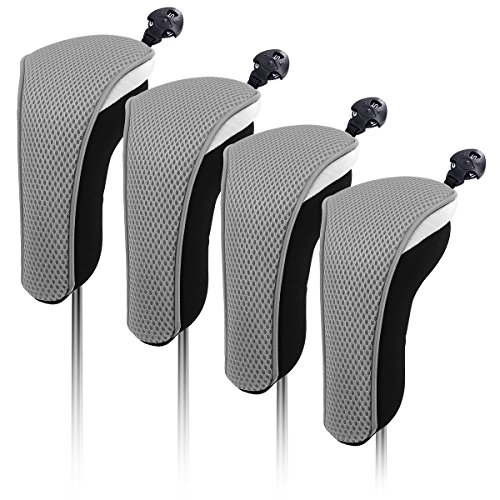 4X Thick Neoprene Hybrid Golf Club Head Cover Headcovers with Interchangeable Number Tags (Gray)