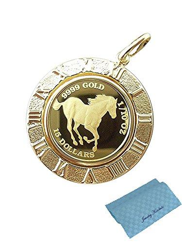 ジュエリーコトブキ ホース 馬 クイーン エリザベス II コイン ペンダント トップ 24金 K24 枠18金 1/10 OZ お磨きクロス付ギフトセット
