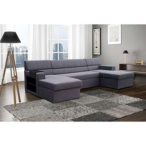 JUST HOME Markos divano da angolo imbottitura angolo divano set divano letto (AxLxP): 85 x 330 x 160 cm in diversi colori a scelta, Etna 95, Ottomane links davorstehend