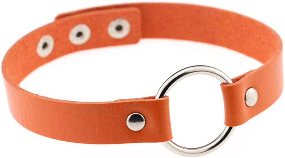 SSS-Swag Hip-hop Punk Leather Choker Simple Binding Neck Set Metal Loop Collar Necklace
