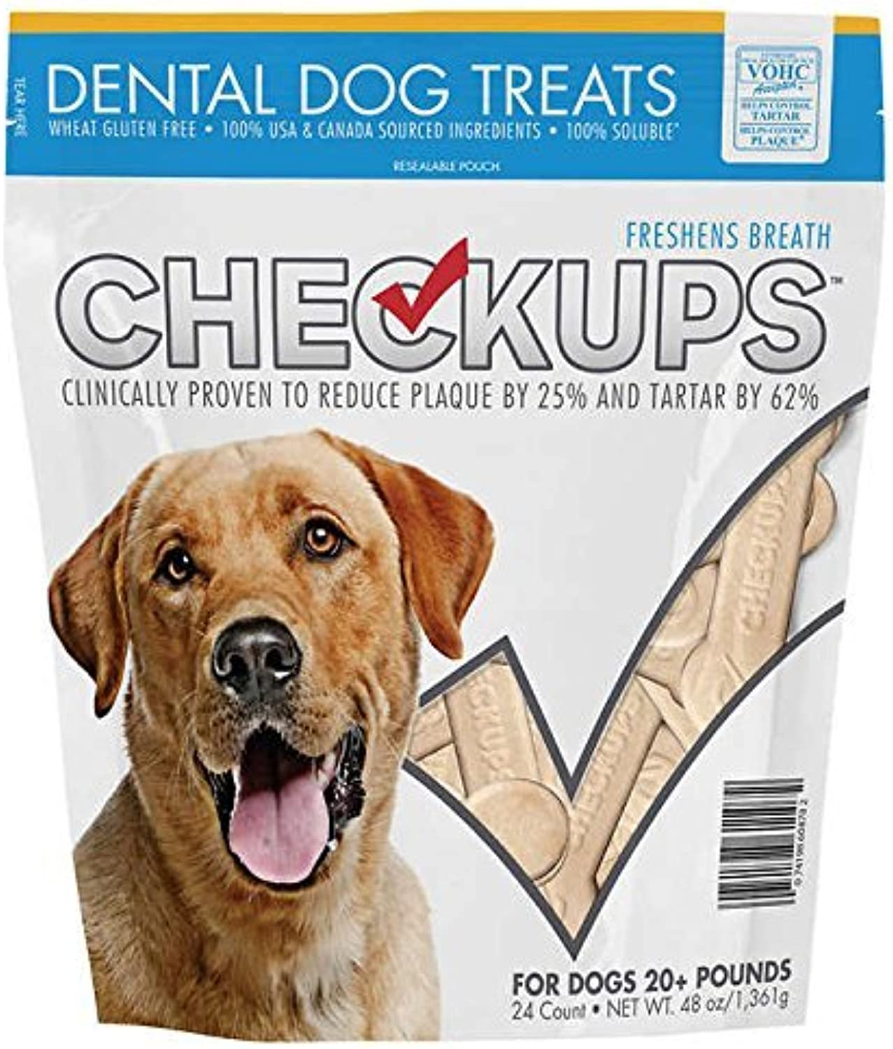 Checkups Dental Dog Treats, 1Pack (48oz (24 Count Each)) Ak%Hles