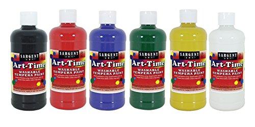 Sargent Art 16 Ounce Bottles, 6, Art-Time Washable Tempera Paint