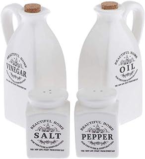 Set of Vinegar and Oil Bottle + Salt Shaker + Porcelain Pepper Container, Kitchen Utensils