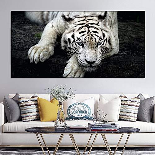 wZUN Animale Tigre Bianca Animale Selvatico Pittura su Tela Poster e Stampe scandinave Immagine murale per Soggiorno 50x100cm