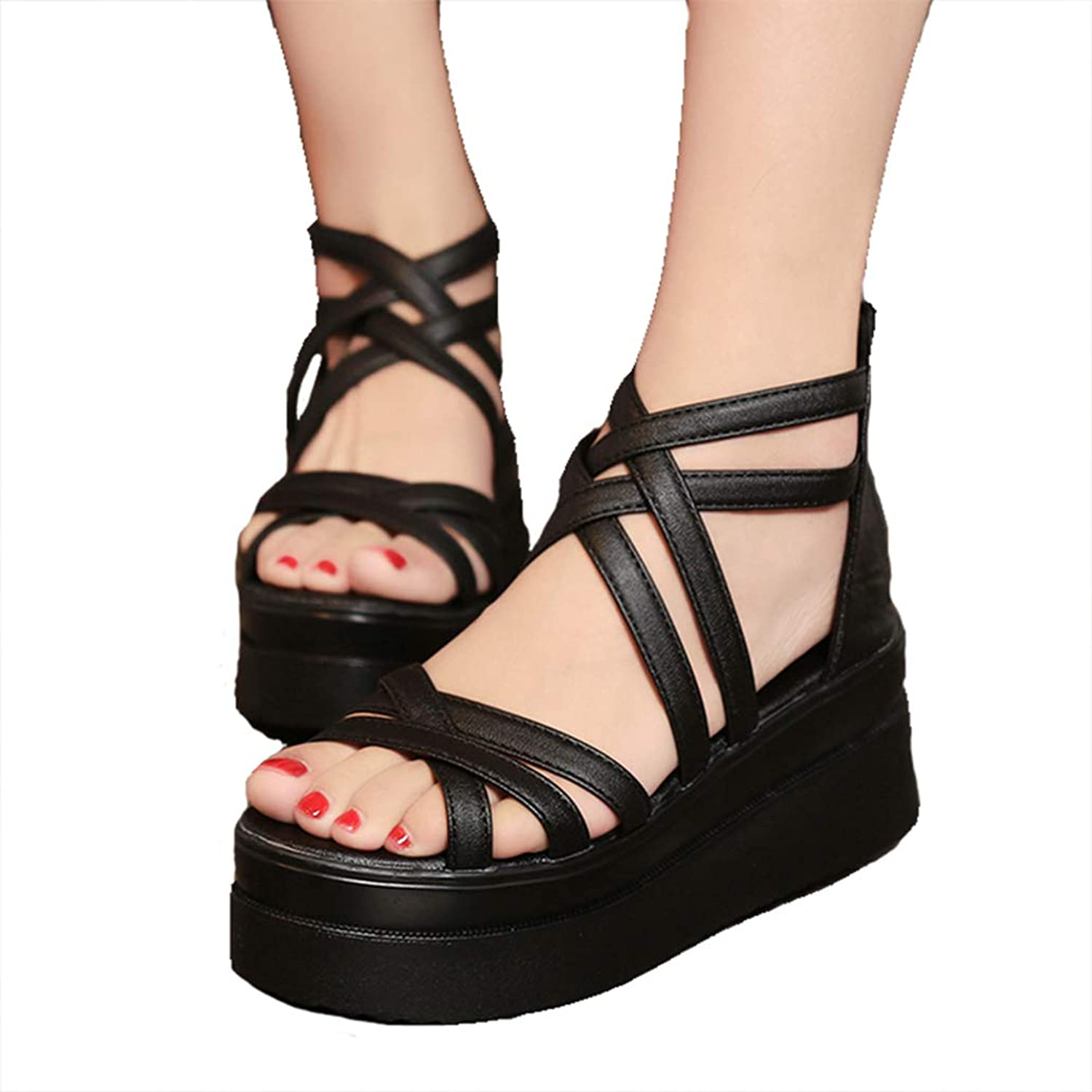 York Zhu Women's Sandals Summer Cross Dewy Toe Women Platform Sandals Roman Wedge Sandals
