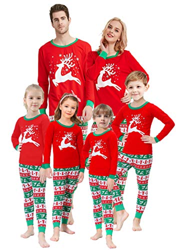 Matching Family Christmas Pajamas Boys Girls Elk Jammies Children Gift Set Size 7
