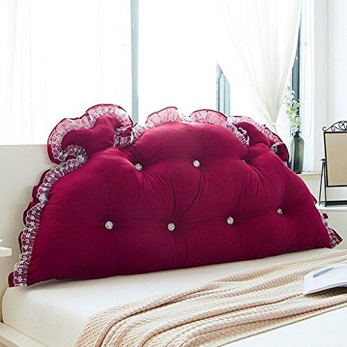 MMM- Chevet Coussin Dossier Lit Princesse Chambre Oreiller Doux Coussin Doux Lavable (Couleur : Vin rouge, taille : 120cm)