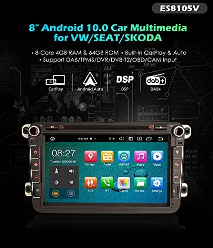 Autoradio Erisin ES8105V 8' Android 10.0 DVD per VOLKSWAGEN Golf Passat Polo Bora Seat Peugeot 307 DSP& Auto GPS DAB+ 64G