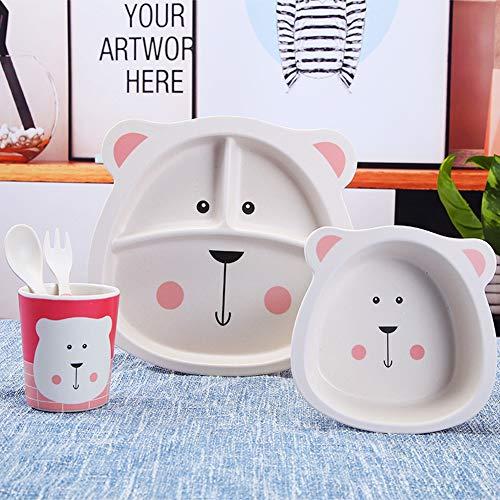Alimentación de bebé Cubiertos Conjunto Fibra de bambú Dibujos animados Oso rosado Vajilla Cuenco Tenedor Cuchara Taza 5pcs, oso blanco