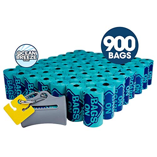 Bags on Board Odor Control Dog Poop Bags and Dispenser | Strong, Leak Proof Dog Waste Bags | Ocean Breeze Scent | 9 x14 Inches, 900 Waste Pickup Bags Bags On Board Leash