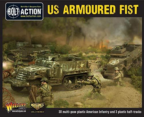 Wargames Delivered - 28 mm Miniatur-Tisch-Kriegsspiel - Militärisches Strategie-Brettspiel mit 30 US-Infanterie und 3 Halbkettenfahrzeugen - Warlord Games US Armoured Fist - 28 mm