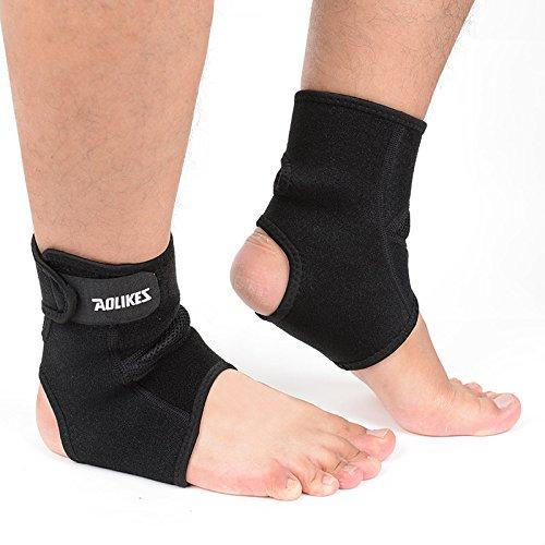 Tobillera con cordones con estabilizadores laterales y cinturón de fijación, protección de fuerza, color negro, 1 par