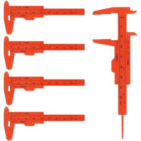 2 Pezzi 0-80mm Scala a Doppia Regola Calibro a corsoio in plastica Strumento di misurazione Mini Righello per Studenti BELTI Calibro a corsoio