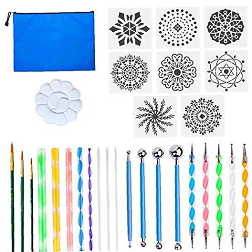 ZYCX123 Mandala Que puntea Las Herramientas del Conjunto Rocas Pintura Kits de la Plantilla con la Bandeja de la Pintura para el Dibujo del Arte de Redacción Suministros 30PCS Productos para el Hogar