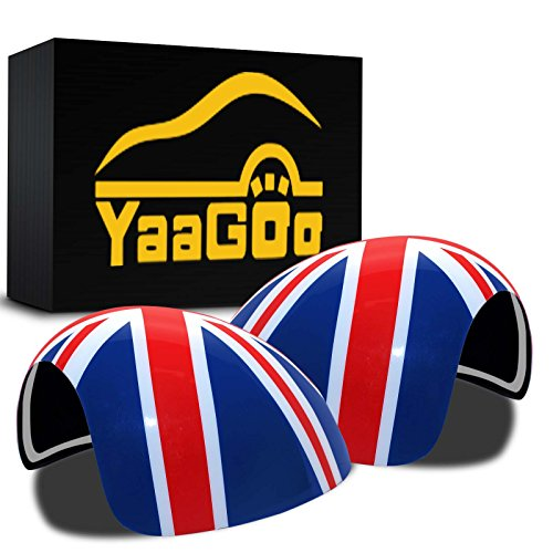 YaaGoo Out Side Wind Door Mirror Cover Plastic Decoration with Sticker Tape, for Mini Cooper (Union Jack, R56R55R56R58R59R60R61NOT Power Folding)