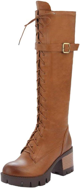 Vitalo Womens Mid Chunky Heel Platform Zip Knee High Lace Up Combat Boots