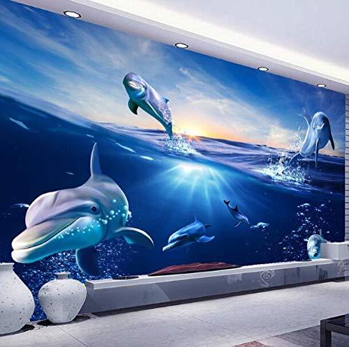3D vliesbehang foto vlies premium fotobehang behang behang 3D cartoon muurfoto Sunrise dolfijn uit het water fotobehang voor kinderen slaapkamer tv-achtergrond wooncultuur 300*210 300 x 210 cm.