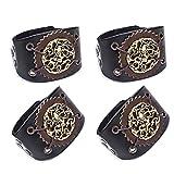 SPARKX Bracelet en Cuir Large pour Hommes, Courroie Large De Moto Punk Rocheuse, Bracelet en Cuir Totem Vintage, Réglable (4 Pièces),Noir,24.5 cm