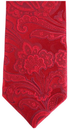Knightsbridge Neckwear Red Paisley Silk Skinny cravate de