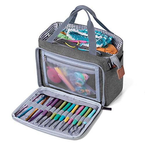 Luxja Torba na zakupy, przenośna torba do przechowywania z przędzy na małe niedokończone projekty, szydełka i inne akcesoria (akcesoria nie wchodzą w zakres dostawy), kolor szary