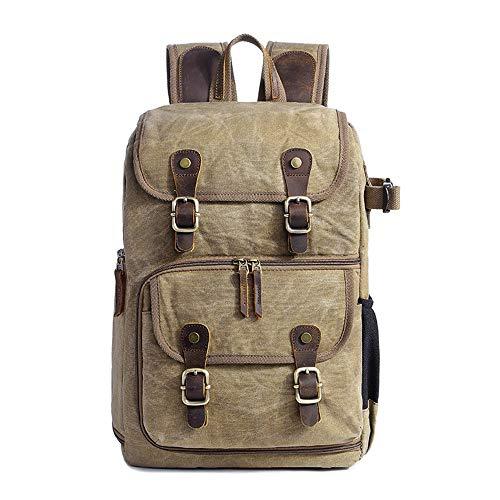 ChengBeautiful Camera Backpack Photography Bag SLR Digital Backpack Waterproof Large Capacity Wax Dye Canvas Backpack Outdoor Camera Bag (Color : Khaki, Size : 42x32x19cm)