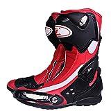 CYCPACK Impermeabile Moto Stivali Mens - Cuoio Rosso Moto Blindata Stivali di Protezione con Anti Skid Suola in Gomma, MX Avventura Scrambler Piste Ciclabili Scarpe da Corsa Touring,EU41(UK7)