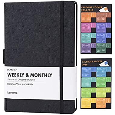 Planner 2018-2019 with Pen Holder -Academic Weekly, Monthly and Yearly Planner. Thick Paper to Achieve Your Goals & Improve Productivity, 5.75  x 8.25 , Back Pocket with 68 Notes Pages - lemome
