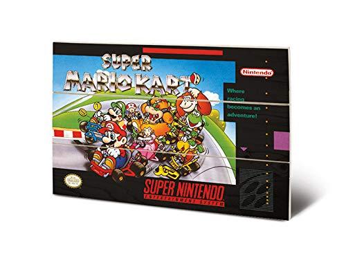 Nintendo MW12481P Impression sur Bois 29,5 x 20 cm (Super Mario Kart), Multicolore, 20 x 29, 5 x 1, 2 cm