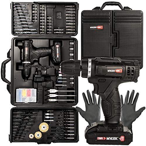 MYLEK MYBMC092 18V Cordless Drill Electric Screwdriver DIY Combi Set, Lithium Ion Battery Pack, 151 Piece Tool Accessory Set And Carry Case with Work Gloves